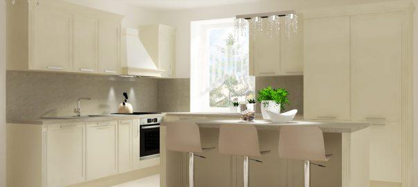 Návrh a vizualizácia kuchyne MONTECARLO v kombinácií s jedálenským stolom FRANCESCO a komodou MADISON