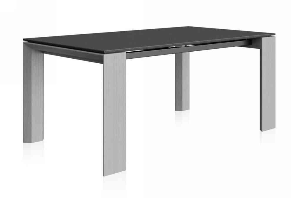 Rozťahovací jedálenský stôl  BASINA v odtieni šedej dyhy vso sklom