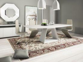 Jedálenský stôl s bielou matnou stolovou doskou DORIA.