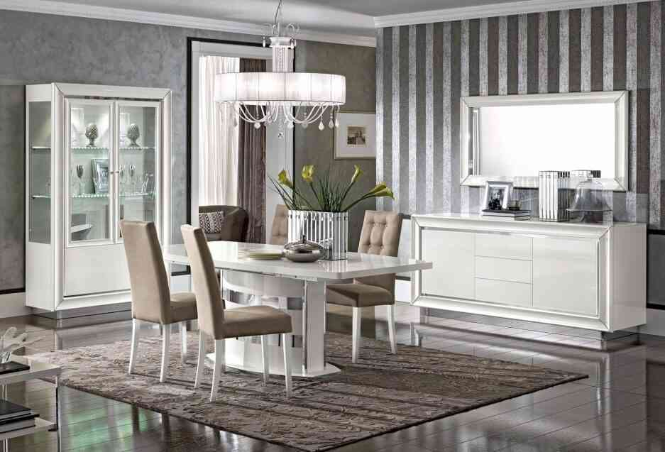Moderná biela jedáleň