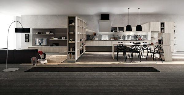 Moderná asymetrická kuchyňa ASIA v naturálnom drevennom prevedení je jedinečná svojimi kombináciami asymetrických tvarov.