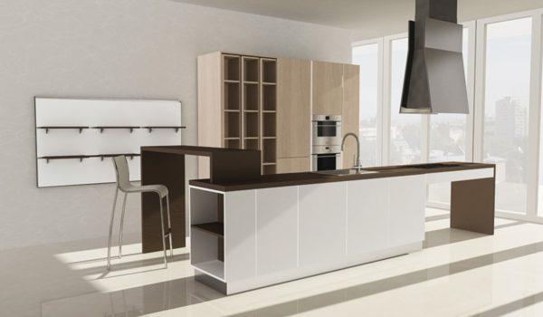 Moderná asymetrická kuchyňa ASIA v bielo-modrom prevedení je jedinečná svojimi kombináciami asymetrických tvarov.