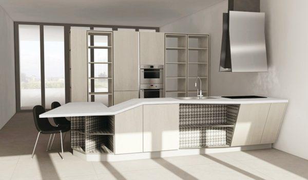 Moderná kuchyňa ASIA v modrobielom prevededení.Asymetrická kuchyňa ASIA je jedinečná svojimi kombináciami asymetrických tvarov.