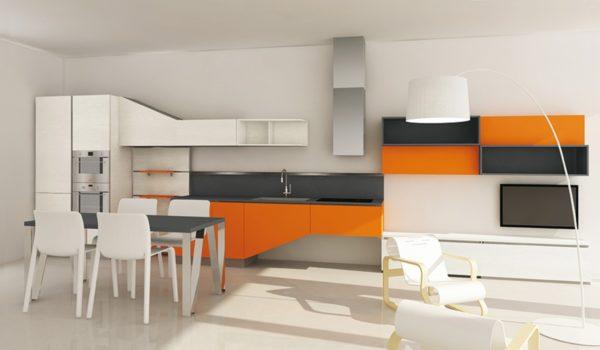 Úložný priestor v jedálenskom asymetrickom stole kuchyne ASIA.