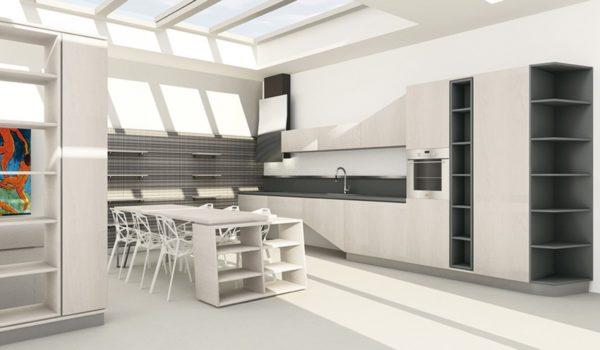 Moderná asymetrická kuchyňa ASIA je jedinečná svojimi kombináciami asymetrických tvarov.Talianska kuchyňa ASIA je vyrábaná na mieru.