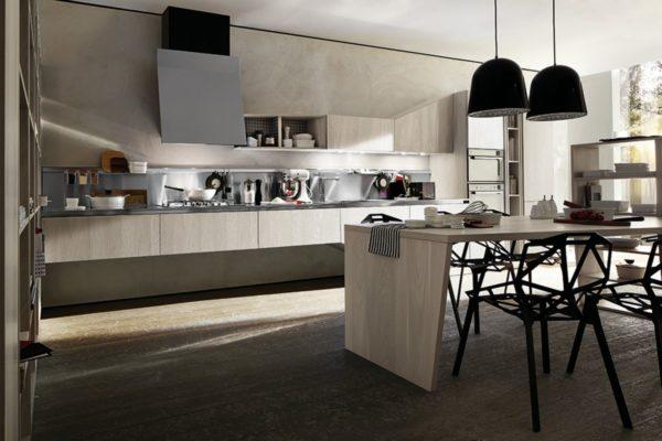 Moderná asymetrická kuchyňa ASIA je jedinečná svojimi kombináciami asymetrických tvarov.