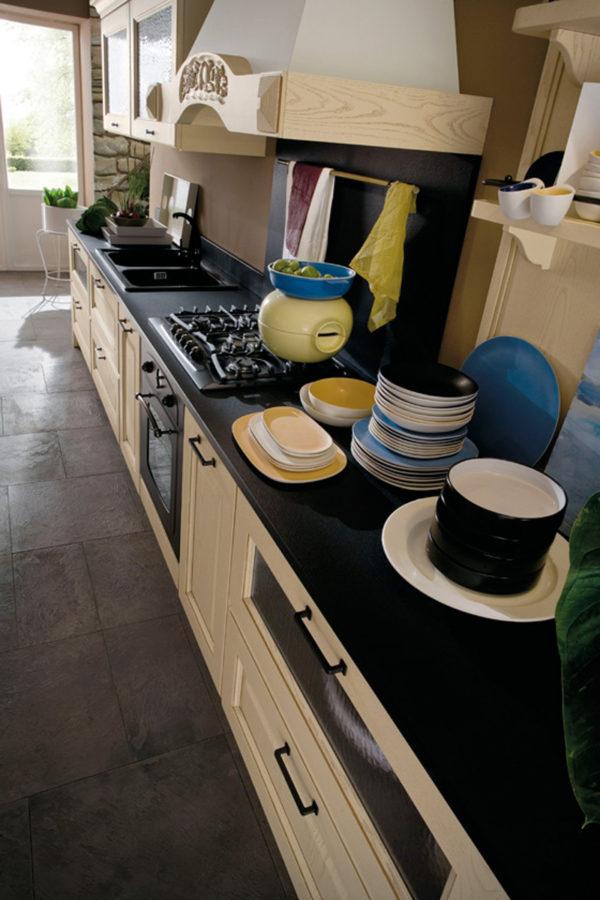 Detail žltej pastelovej vintage kuchynskej zostavy CANOVA.