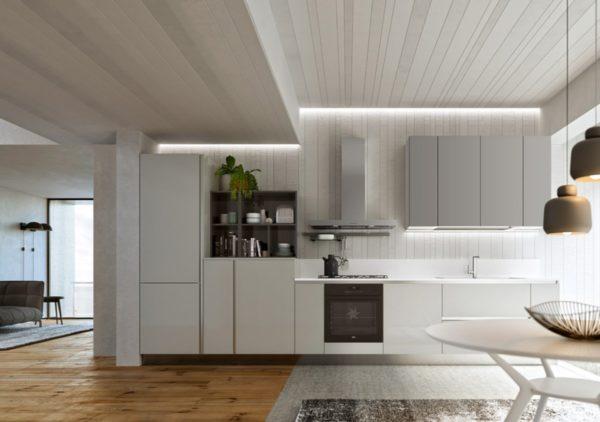 kompaktný a vysoko prispôsobiteľný dizajn kuchynskej linky COLORS.Talianska kuchyňa COLORS je vyrábaná na mieru.