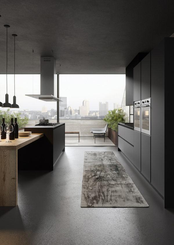 Moderná industriálna kuchyňa DE.SIGN bez úchytkovým systémom má extra matný povrch s anti-odtlačkovou úpravou