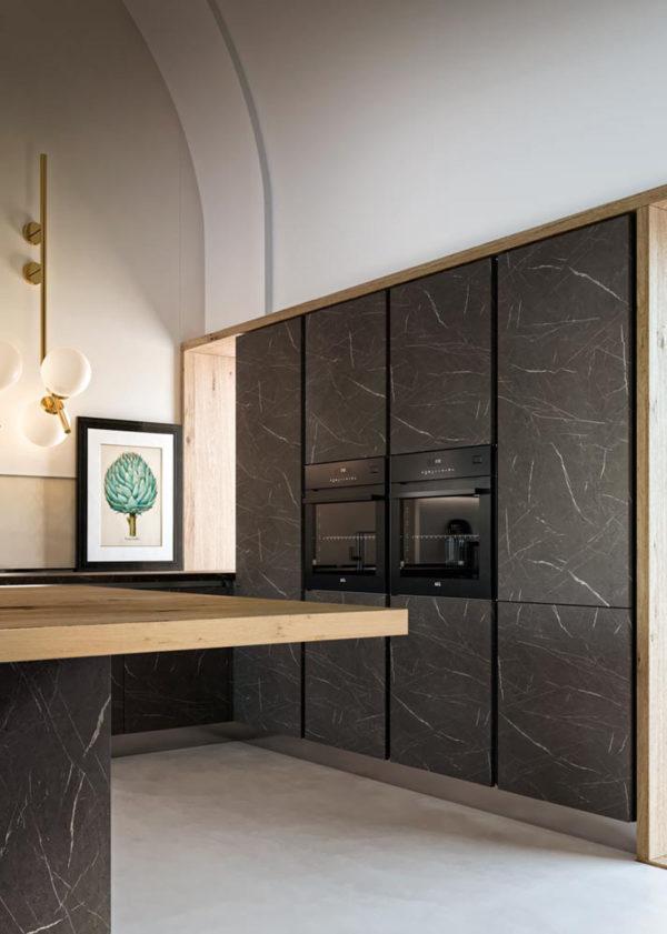 Detail kuchyňe DE.SIGN STONE.Talianska kuchyňa DE.SIGN STONE sa vyrába na mieru.