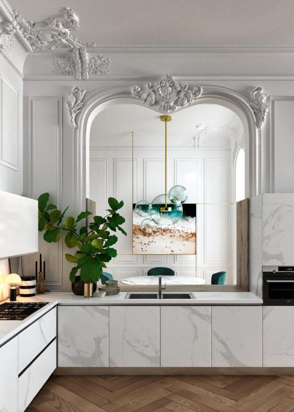 Elegantná kuchyňa DE.SIGN STONEv bledom mramorovom prevedení.Talianska kuchyňa DE.SIGN STONE sa vyrába na mieru.