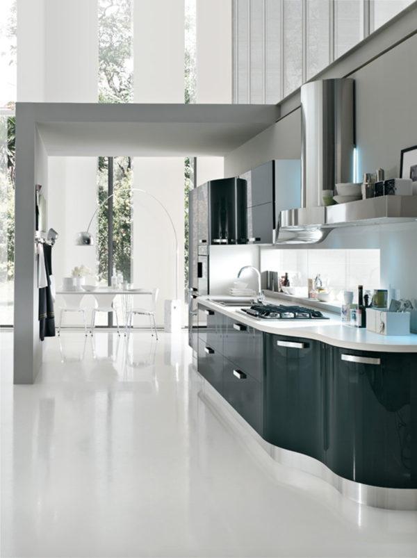 Antracitová oblá kuchynská linka KRISTAL.Talianska kuchyňa KRISTAL je vyrábaná na mieru.