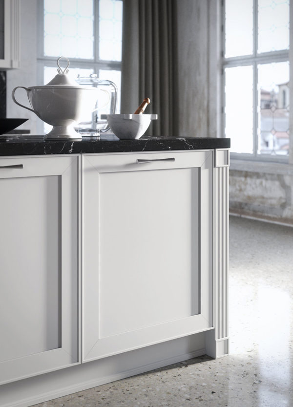 Kuchynská zostava MONTECARLO v bielom lakovanom prevedení s mramorovou pracovnou doskou.