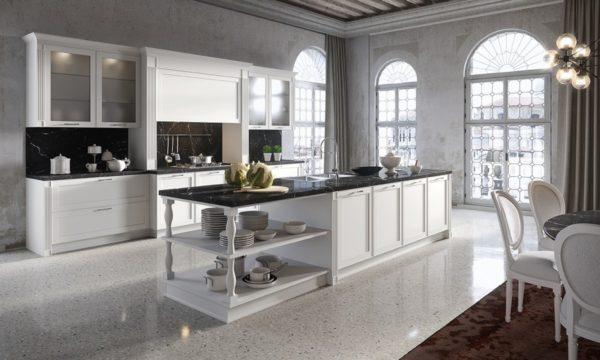 Kuchynská zostava MONTECARLO v bielom lakovanom prevedení.Talianska kuchyňa MONTECARLO je vyrábaná na mieru.