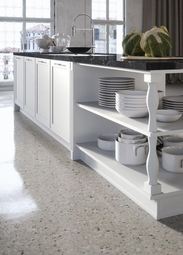 Úložný systém kuchyne MONTECARLO v bielom lakovanom prevedení.Talianska kuchyňa MONTECARLO je vyrábaná na mieru.