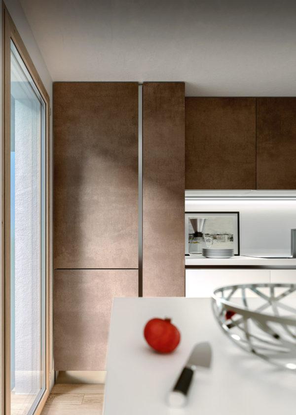 Dizajnová moderná matná kuchyská linka TIME v drevenom dizajne. Talianska kuchyňa TIME je vyrábaná na mieru