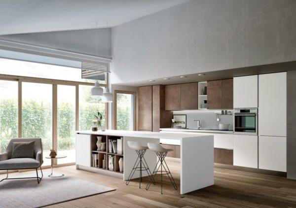 Dizajnová moderná bielo-hnedá matná kuchyská linka TIME. Talianska kuchyňa TIME je vyrábaná na mieru.