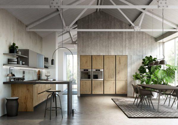 Dizajnová moderná kuchyská linka z kombinovaných materiálov TIME. Talianska kuchyňa TIME je vyrábaná na mieru.