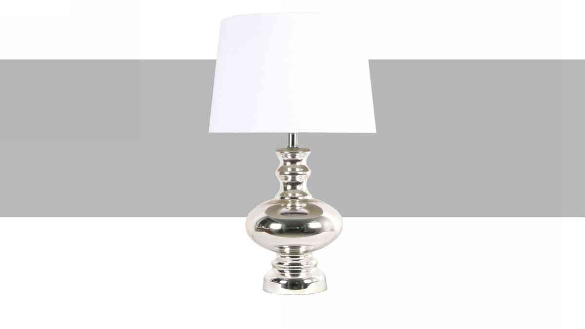 Dizajnová strieborná sklenená stolová lampa LUTETIA.