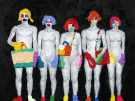 Ručne maľovaný moderný obraz s čiernym rámom