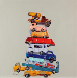 Ručne maľovaný obraz áut