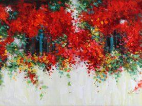 Ručne maľovaný obraz oblokov s kvetmi