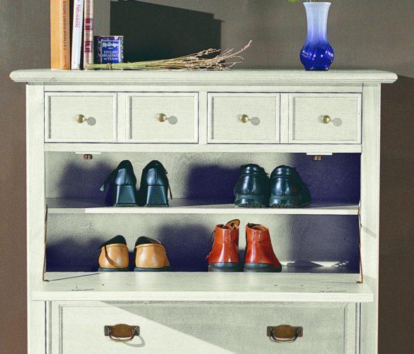 Skrinka na topánky BERNA art. 2081 / š.100 hl.41 v.104 cm/ - vnútorné riešenie políc
