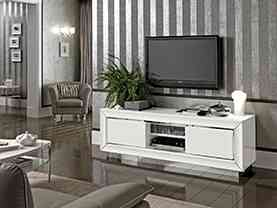 Moderná biela lesklá televízna skrinka