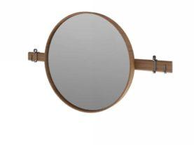 Okrúhle zrkadlo SARDI s rámom z orecha.Vrátane dvoch kovových vešiakov.