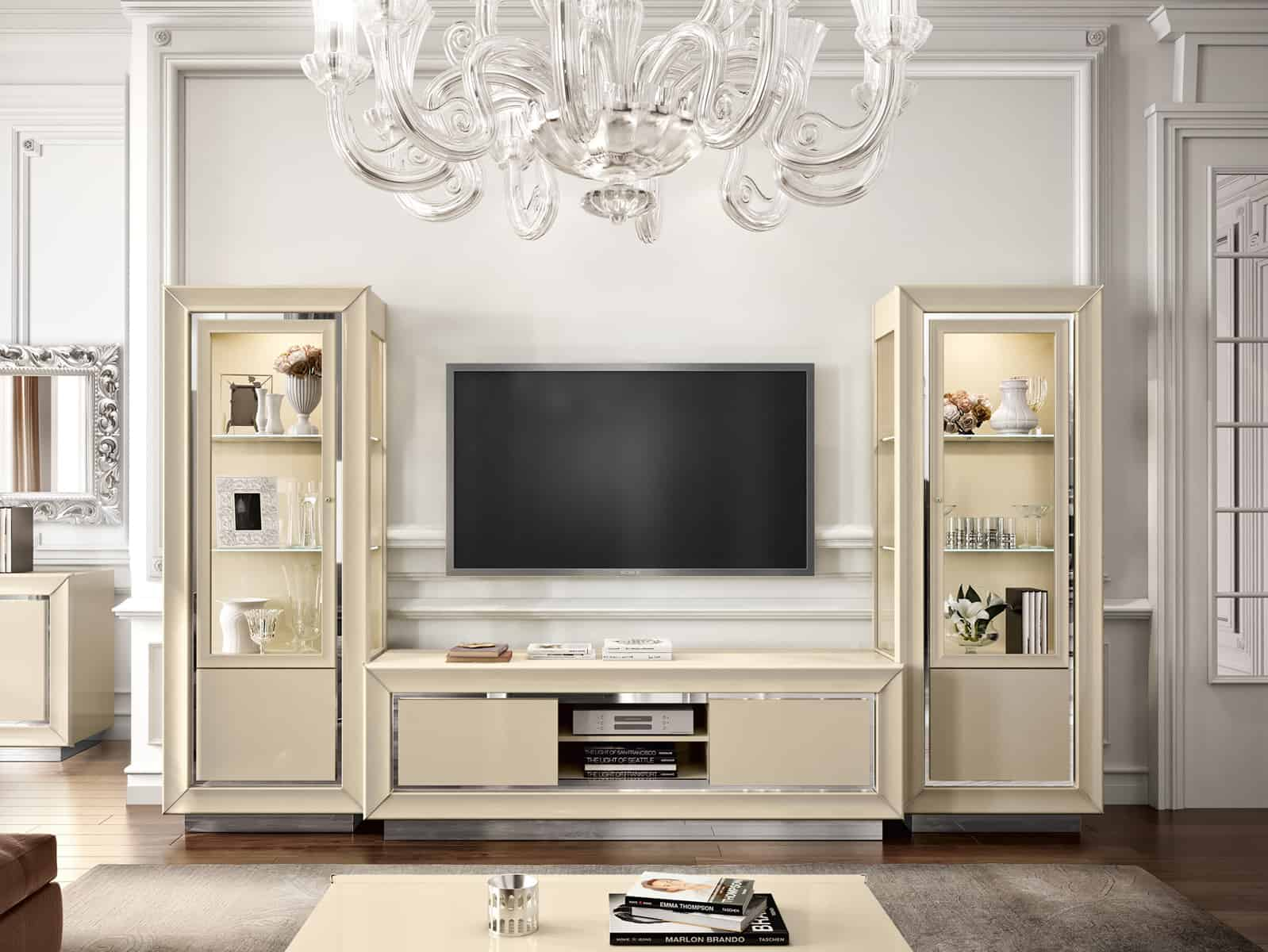 Moderný nábytok do obývačky, vitrína a skrinka pod TV