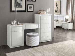 Biely lesklý toaletný stolík so zrkadlom