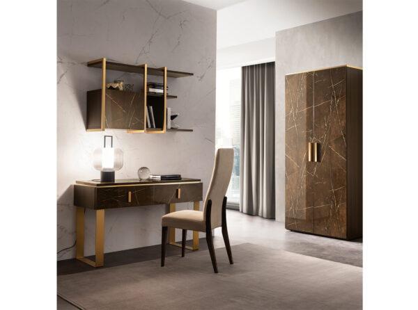 Konzola so závesným modulom na stenu, stoličkou a 2-dverovou skriňou z kolekcie ESSENZA