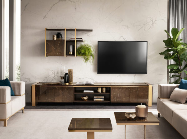 Moderná TV zostava so závesným modulom a príručnými stolíkmi ESSENZA