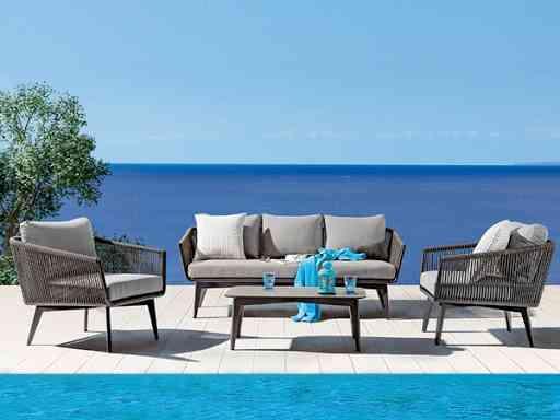 Záhradné exteriérové dizajnové šedé sedenie